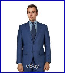 100% Wool Mantoni Men's Regular Modern 2-Piece French Blue Solid Fine Italian