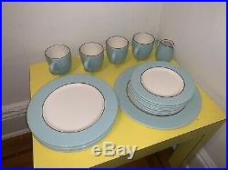17 Piece Set PAGNOSSIN Italy China Audrey Treviso Robins Egg Blue Crate Barrel
