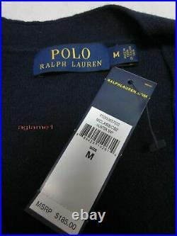 $185 POLO RALPH LAUREN merino wool suede patch CARDIGAN SWEATER M Italian Yarn