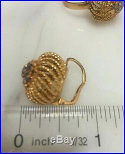 18k Yellow Gold & Blue Sapphire Ring & Earrings 3 piece set Vintage Italian