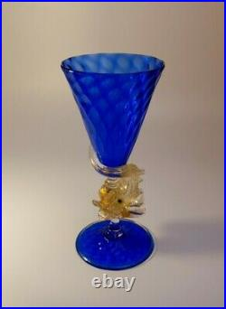 1910s Rare Antonio Salviati 24k Gold Glass Cobalt Champagne Wine Glass Art Piece