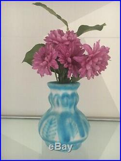 1950's C. A. S. Vietri Italy Blue & White Glazed Ceramic Vase Beautiful Piece