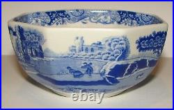 2 Vintage SPODE Blue Italian CAMILLA Miniature Pieces Footed Cake Plate & Bowl