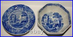 2 Vintage SPODE Blue Italian CAMILLA Small Pieces Footed Cake Plate & Bowl