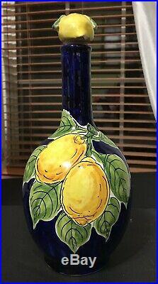 3-pieces Vietri DAmico Large Salad Serving Bowl Creamer Bottle Handpainted PD19