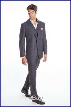 $3190 Belvest 3 Pieces Wool Blue Windowpane Suit 42 US / 52 EU Drop 7R F/W 18
