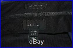 36S J Crew Ludlow Muted Navy Blue PEAK LAPEL Slim 2 PIECE SUIT Flat Front 31x30