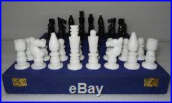 4 Italian Marble White & Black Chess pieces Play Indian Artisan Handmade Gifts
