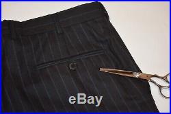 40R Ermenegildo Zegna Couture Gray Blue Striped TWEEDY 2 PIECE SUIT Pants 34