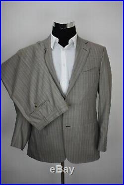 40S Ermenegildo Zegna SILK Taupe Gray Light Blue Striped 2 PIECE SUIT Pants 34