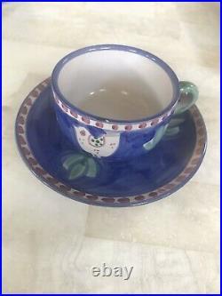 44 piece Vietri fine Italian ceramic dining set. Campagna Chicken blue