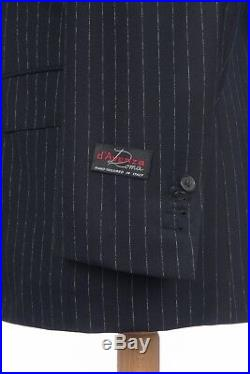 $4980 D'AVENZA Blue Striped Wool 120's 3 Pieces Suit Sewn in Italy 40 US / 50 EU