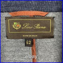 52 R Loro Piana Unlined Patch Pocket Dark Blue Cotton / Cashmere Blazer Italy