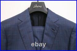 $6,000 Brioni Blue'Colosse' 2 Button Flat Front Men's 2 Piece Suit, US 40R