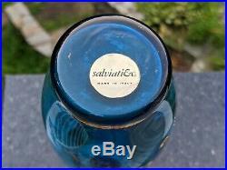 6 Piece Salviati Venetian Murano Italian Glass Cordial Set Ocean Blue 24k Gold