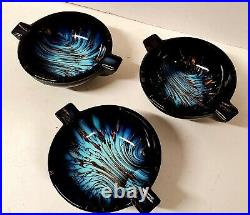 7 Piece MURANO ART GLASS BLUE GOLD SWIRL COMPOTE ASHTRAY SET