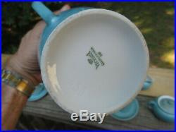 9-piece Victoria Czech Demitasse Set Blue Porcelain Coffee Tea Service Floral