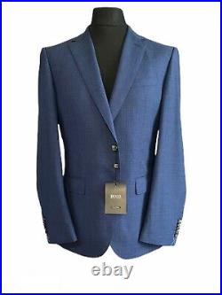 990 NWT Hugo Boss Blue Regular-fit Super 140s Italian Woven Two Piece Suit 50 L