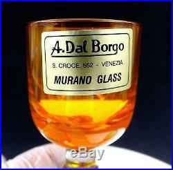 A Dal Borgo Murano Italy 6 Piece 3 3/4 Ball Stem Cordials Original Sticker