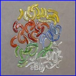 ART GLASS Bits & Pieces Swirls Appx 1 Yellow Orange Blue Assorted Lot of 59