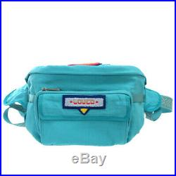AUTHENTIC GUCCI 536842 Terry cross patch belt bag Waist Pouch blue Nylon 0081