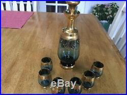 Antique Bavarian Blue Glass 8 piece Decanter & Snap Glasses -Gilded & Enameled