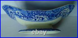 Antique Copeland Spode Italian Blue Footed 2 Handled Comport Dish Centre Piece