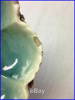 Antique Majolica Bowl Center Piece Hand Painted Rare Italian Fish Shells 8 1/8