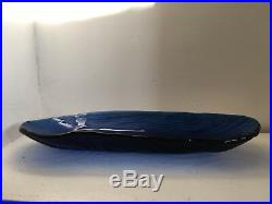 BLUE ART GLASS CENTER PIECE BOWL- Thick and unique