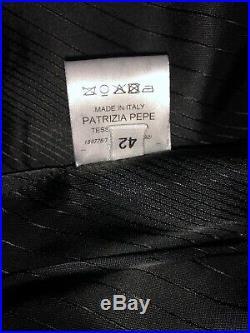 BNWT 3 Pieces Patrizia Pepe Womens Blazer Skirt & Pants Suit Dark Sz 40 Italian