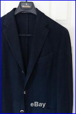 BOGLIOLI italian unlined patch pocket sport jacket coat 40R Med navy blue cotton
