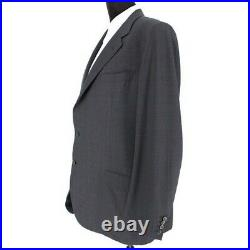 BRIONI 2 Piece Grey/Blue Checkered Houndstooth Single Breasted Suit sz 56 US 46