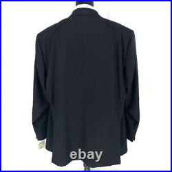 BRIONI Navy Blue Wool 2 Piece Herringbone Striped Suit size 62R US 52 Reg Italy