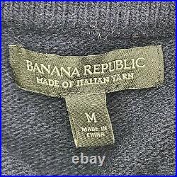 Banana Republic Blue Italian Yarn Merino Wool Elbow Patch Sweater Jacket Size M