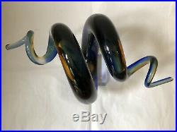 Beautiful Murano Glass Blue Multi Coloured Glass Swirled Design Statement Piece