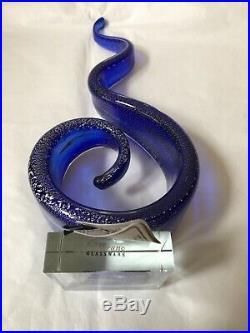 Beautiful Murano Glass Blue Multi Speckled Glass Swirled Design Statement Piece