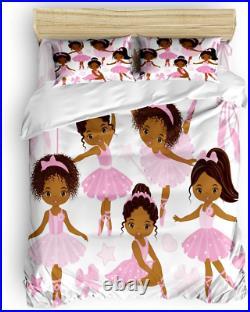 Bedding Duvet Cover Full 4 Piece Set, Cute Girl Ballerina Dancer Gymnastic Duvet