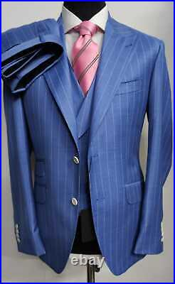 Blue 3 piece pinstripe super 150 Cerruti wool suit with double breasted vest