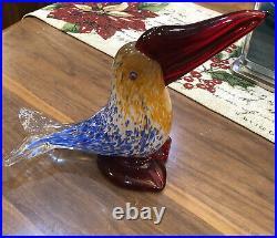 Blue Gold Cobalt Red Tropical Bird Murano Glass Piece 10 Lx 8.5 Hx 3.5across