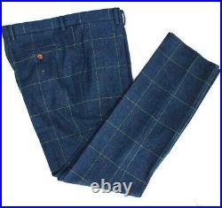 Blue Plaid Wool Men's 3 Piece Suits Tweed Vintage Check Party Prom Suits Travel