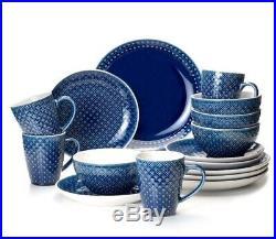 Blue Round Mosaic 16 Piece Dinnerware Set Italian Style 4 Place Setting Dish Pla