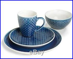 Blue Round Mosaic 32 Piece Dinnerware Set Italian Style 8 Place Setting Dish Pla