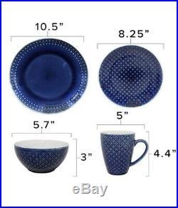 Blue Round Mosaic 48 Piece Dinnerware Set Italian Style 12 Place Setting Dish Pl