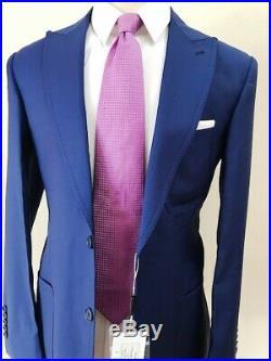 Blue cobalt luxury super 150 Cerruti wool suit with patch pocket wide peak lapel