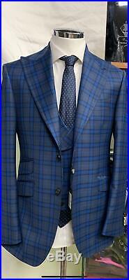 Blue/grey plaid super 150 Cerruti 3 piece wool suit/ wide Tom Ford peak lapel
