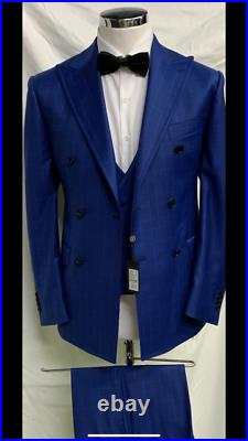 Blue super 150 Cerruti 3 piece wool suit with wide peak lapel double stitched