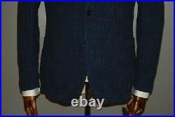 Boggi Milano Cotton Silk Blue Plaid Patch Pockets Sport Blazer Jacket Coat 50 R