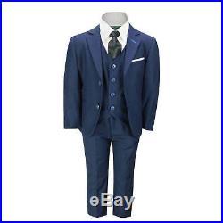 Boys Kids Smart Formal Navy Blue 3 Piece Suit Italian Design Page Boy Wedding