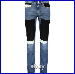 CALVIN KLEIN JEANS Blue Patch Work Skinny Jeans Premium Italian Fabric