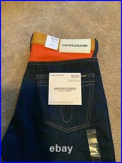 CALVIN KLEIN Men's Ukelely Patch Jeans Italian Denim 34 X 32 $198 NWT